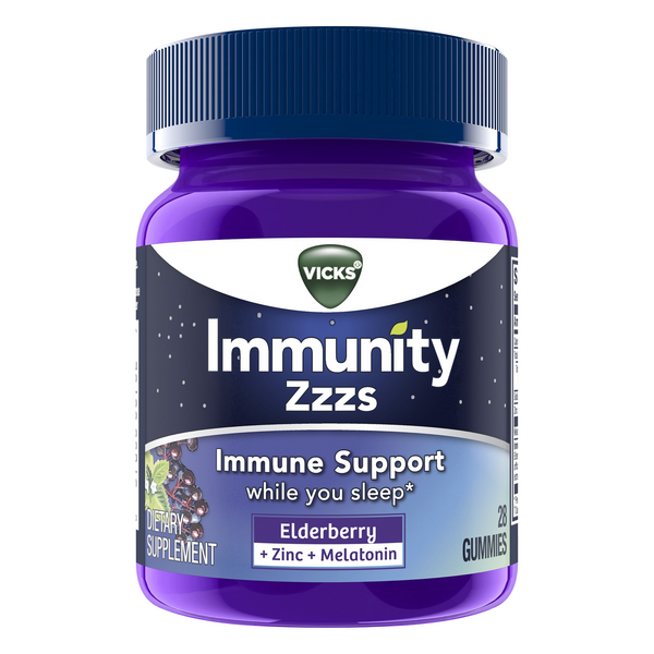 Vicks Immunity Zzzs Supplement Gummies Elderberry + Zinc + Melatonin