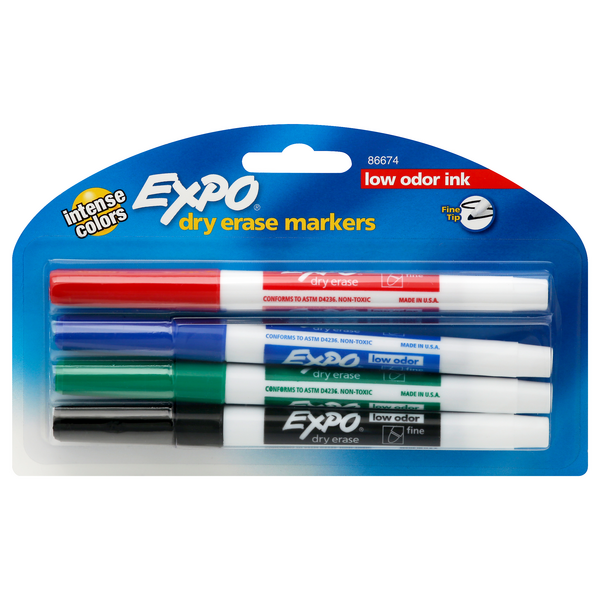 Sanford Expo Dry Erase Markers Low Odor - 4 ct