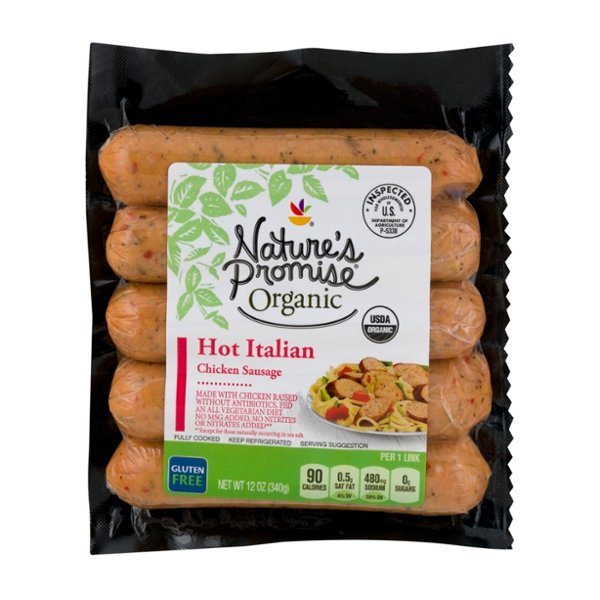 Nature's Promise Organic Chicken Italian Sausage Hot - 5 ct Fully Cooked