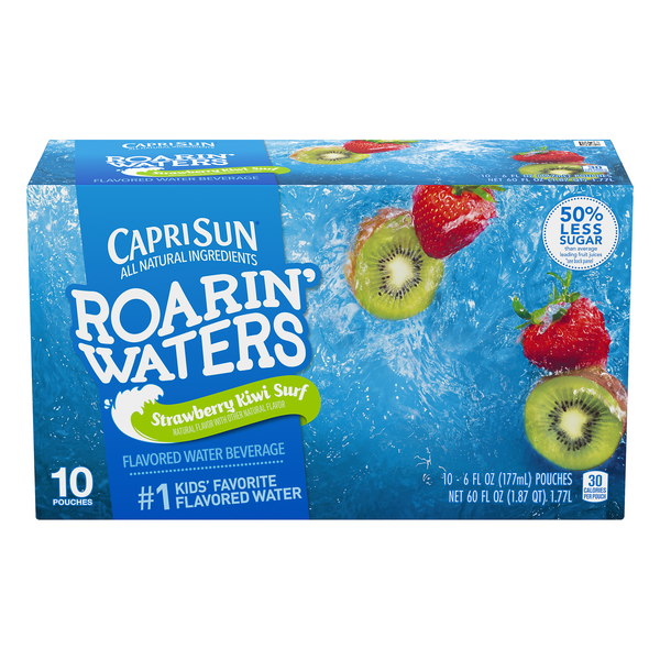 Capri Sun Roarin' Waters Flavored Water Beverage Strawberry Kiwi - 10 pk