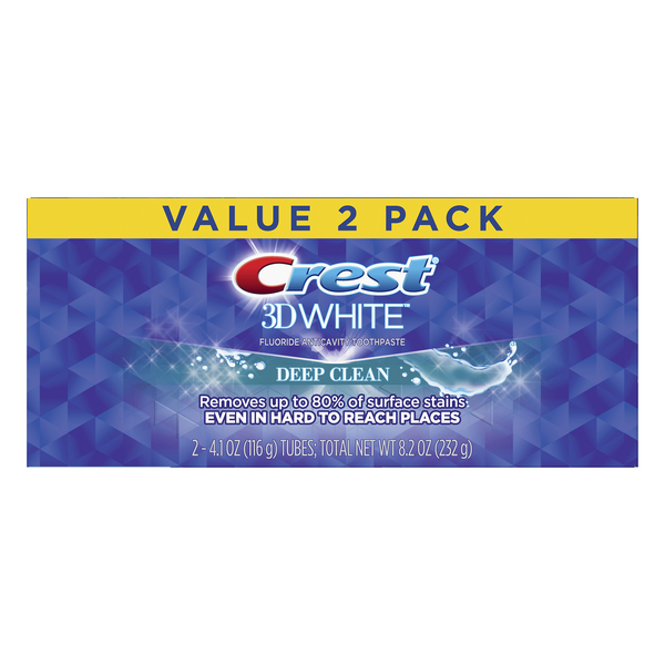 Crest 3D White Fluoride Anticavity Toothpaste Deep Clean - 2 ct