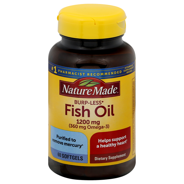 Nature Made Burp-Less Fish Oil 1200 mg (Omega-3 360 mg) Softgels