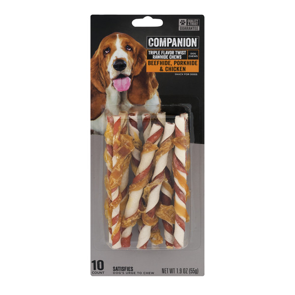 Companion Triple Flavor Twist Rawhide Chews Pork, Chicken & Beef - 10 ct