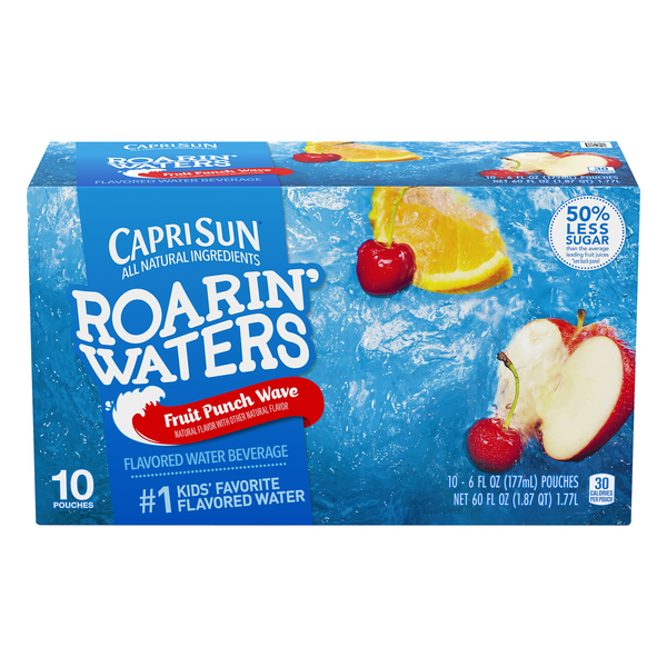 Capri Sun Roarin' Waters Flavored Water Beverage Fruit Punch Wave - 10 pk