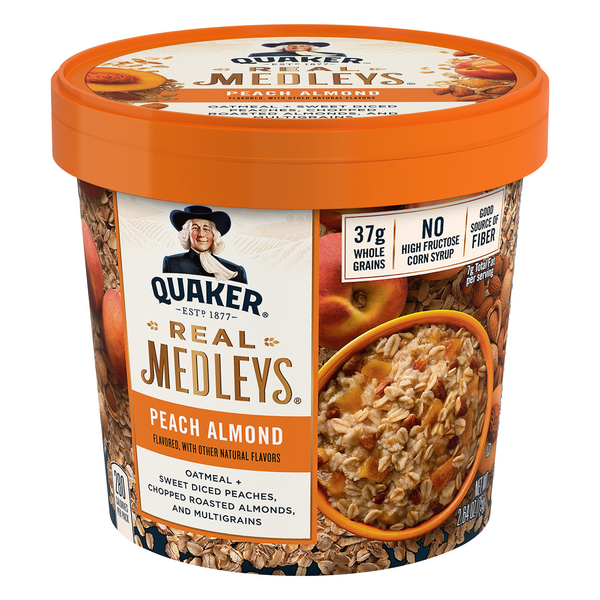 Quaker Real Medleys Oatmeal Cup Peach Almond