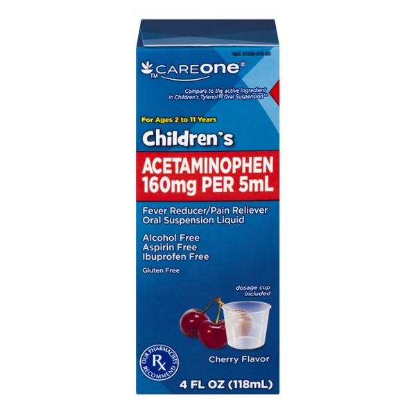 CareOne Children's Acetaminophen Pain Relief Liquid Cherry Flavor
