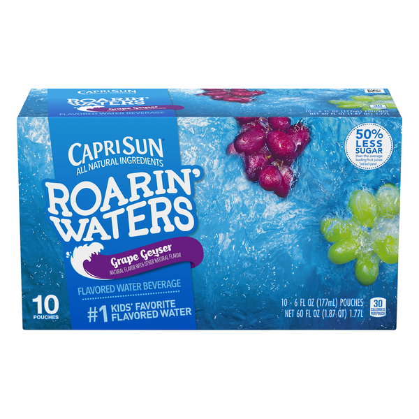 Capri Sun Roarin' Waters Flavored Water Beverage Grape Geyser - 10 pk