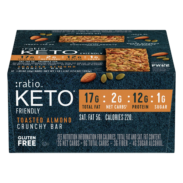 Ratio Keto Crunchy Bar Toasted Almond Gluten Free Low Carb - 12 ct