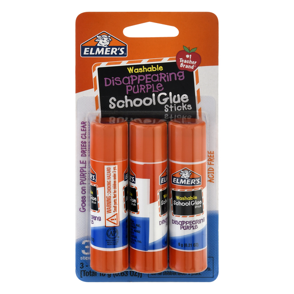 Elmer's School Glue Sticks Disappearing Purple Washable