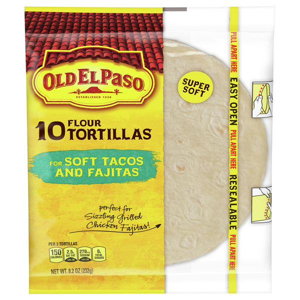Old El Paso Flour Tortillas for Soft Tacos & Fajitas - 10 ct
