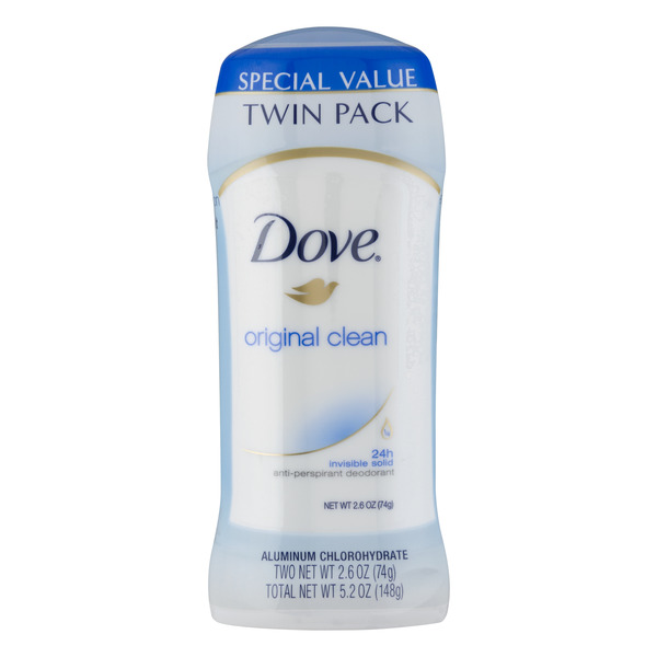 Dove Women's Anti-Perspirant Deodorant Original Clean - 2 ct