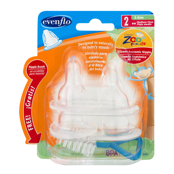 Evenflo Medium Flow Nipples 3-6m Zoo Friends