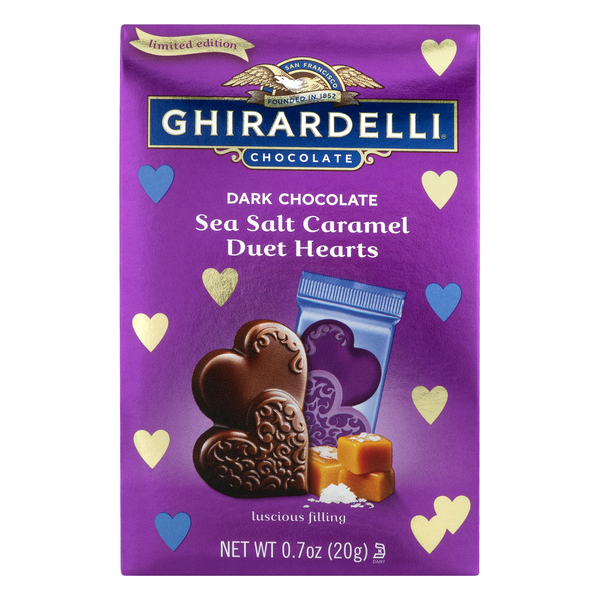 Ghirardelli Duet Hearts Dark Chocolate Sea Salt Caramel Limited Edition