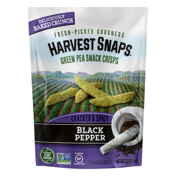 Harvest Snaps Green Pea Snack Crisps Black Pepper Gluten Free