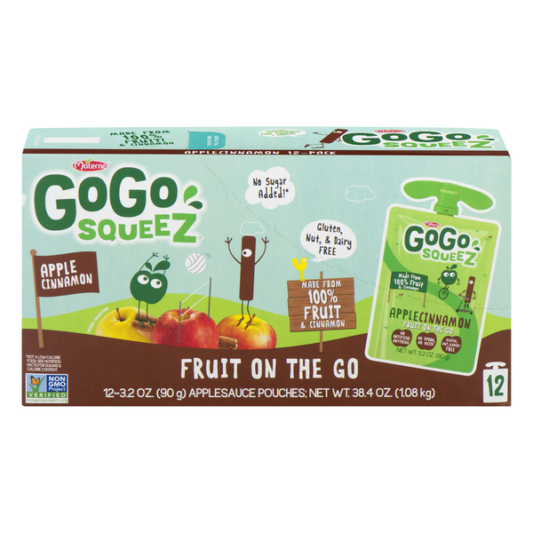 GoGo squeeZ Fruit on the Go Apple Sauce Pouches Apple Cinnamon - 12 ct