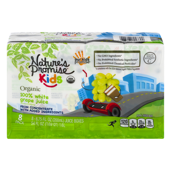 Nature's Promise Kids Organic White Grape Juice Boxes - 8 pk
