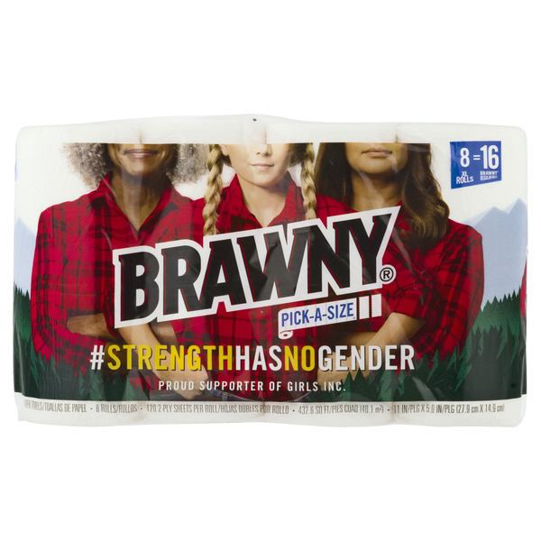 Brawny Pick-a-Size Paper Towels XL Rolls 2-Ply White