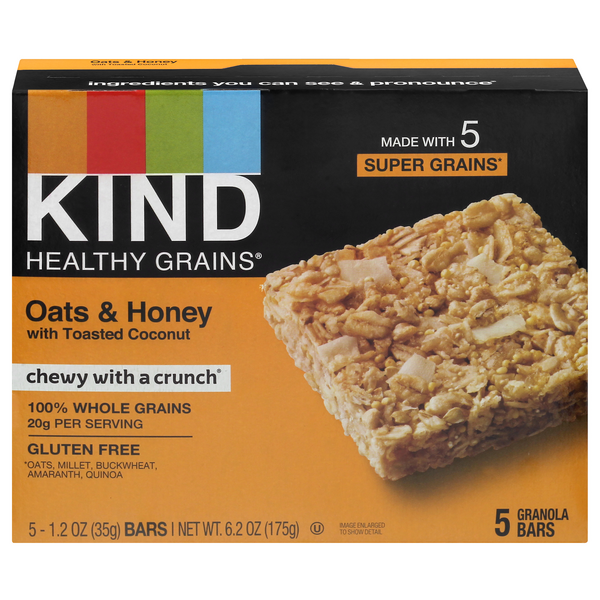 KIND Healthy Grains Granola Bar Oats & Honey w/Toasted Coconut - 5 ct