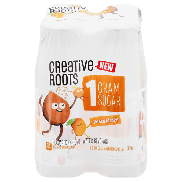Creative Roots Water Beverage Peach Mango - 4 pk