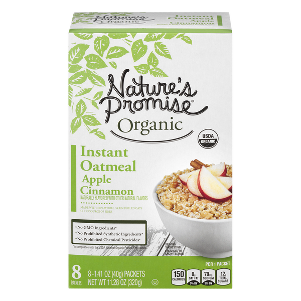 Nature's Promise Organic Instant Oatmeal Apple Cinnamon - 8 ct