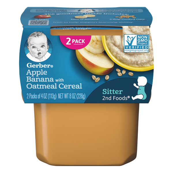 Gerber 2nd Baby Food Apple Banana with Oatmeal - 2 ct