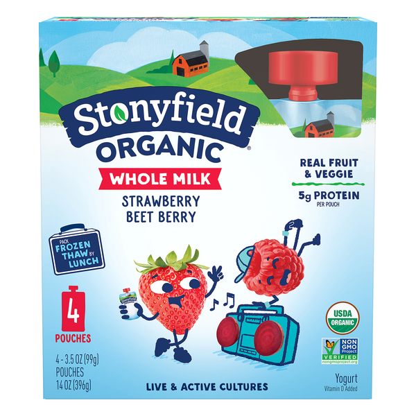Stonyfield Organic Yogurt Pouches Whole Milk Strawberry Beet Berry - 4 ct