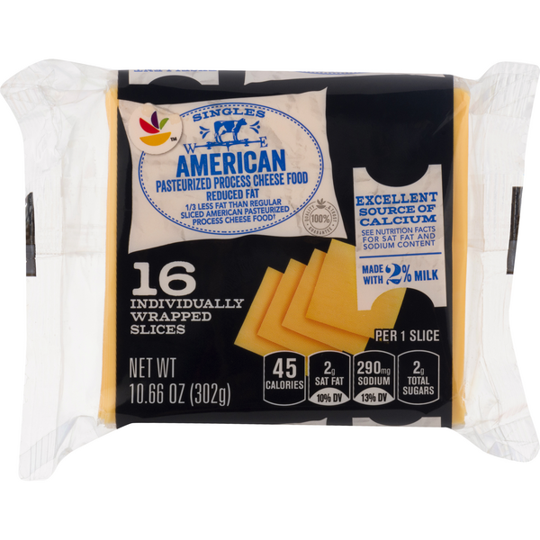 MARTIN'S American Cheese Yellow 2% Milk Reduced Fat Singles - 16 ct