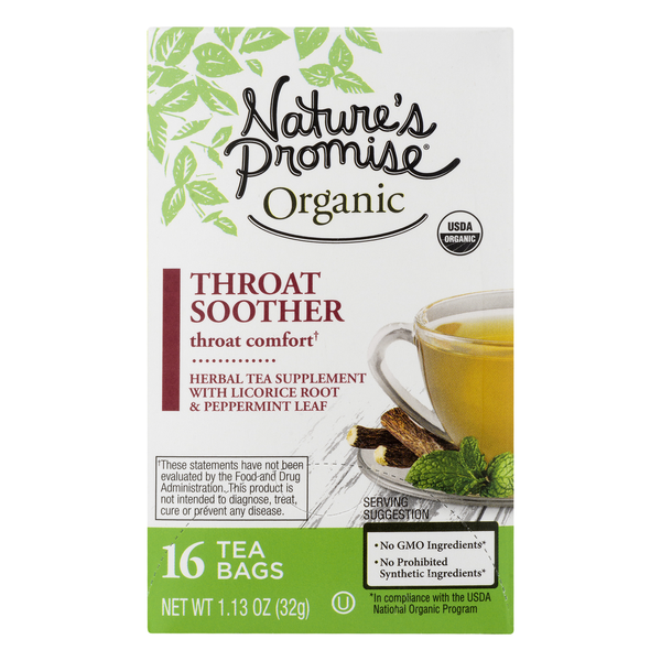 Nature's Promise Organic Throat Soother Herbal Tea Supplement