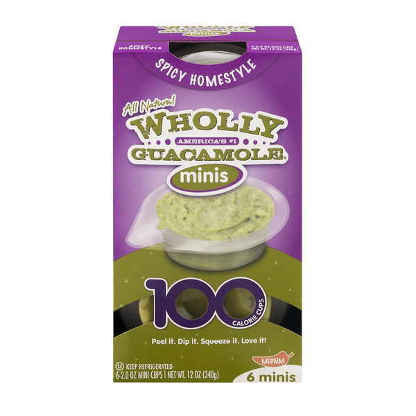 Wholly Guacamole Minis Spicy Homestyle Medium - 6 ct