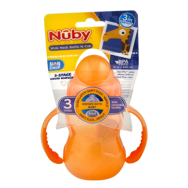 Nuby 3 Stage Grow Nurser Wide Neck Bottle to Cup 8 oz