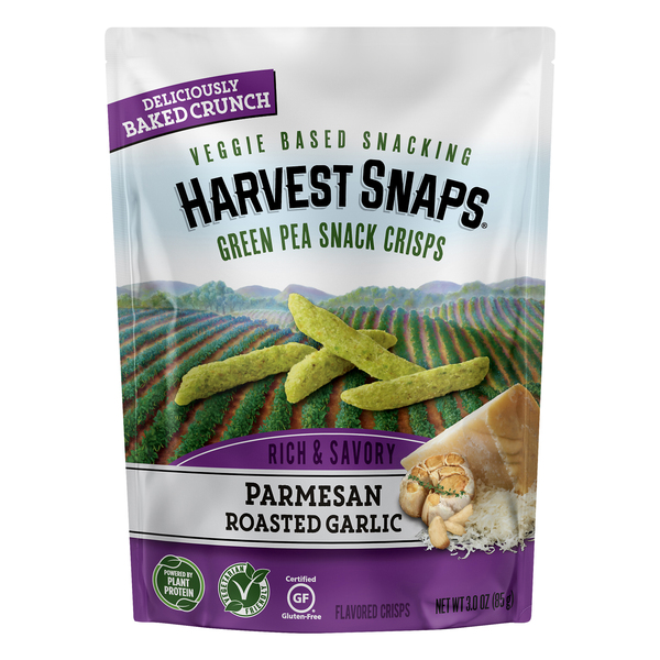 Harvest Snaps Green Pea Snack Crisps Parmesan Roasted Garlic Gluten Free