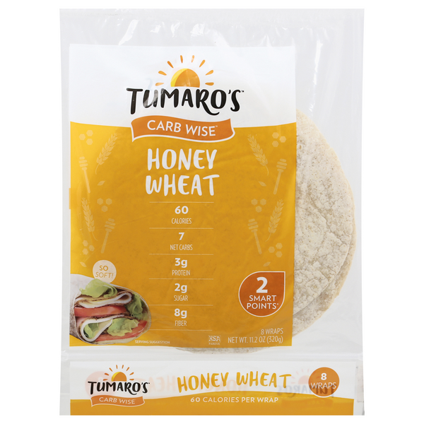 Tumaro's Carb Wise Wraps Honey Wheat - 8 ct