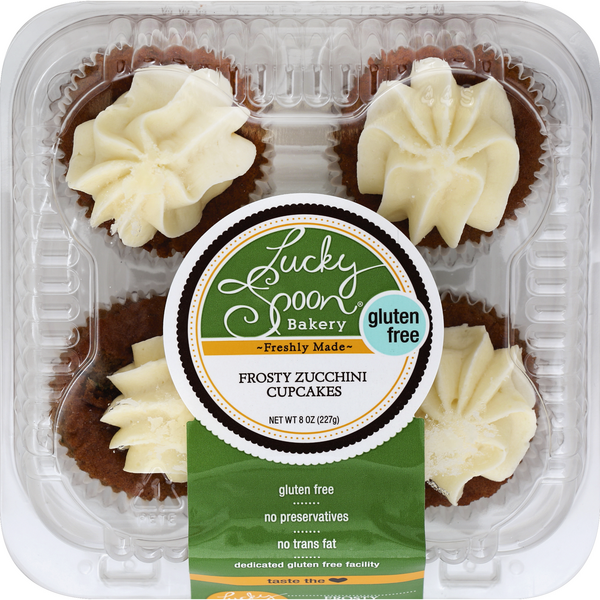 Lucky Spoon Bakery Cupcakes Frosty Zucchini Gluten Free - 4 ct