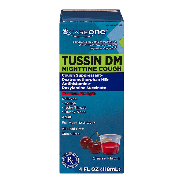 CareOne Tussin DM Nighttime Cough Suppressant Cherry Maxium Strength