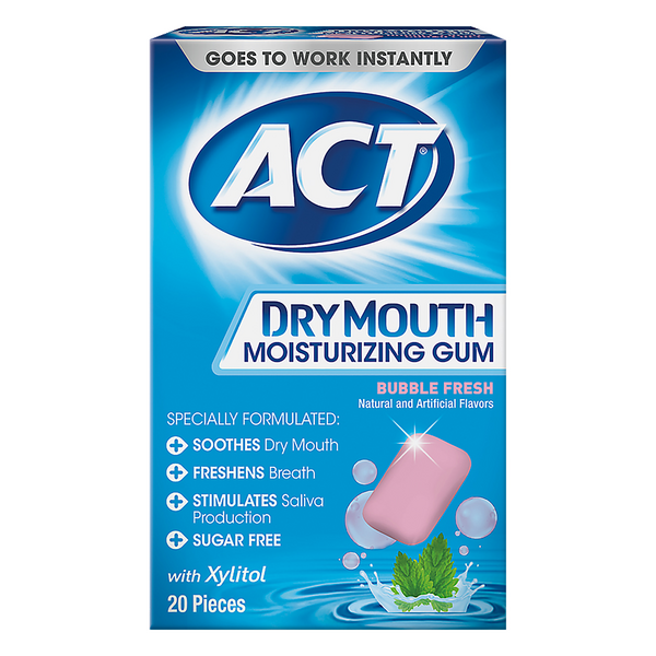 ACT Dry Mouth Moisturizing Gum Bubble Fresh Sugar Free