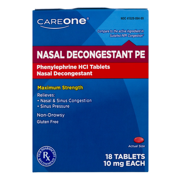 CareOne Nasal Decongestant PE Phenylephrine HCI 10mg Tablets
