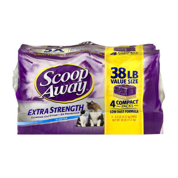 Scoop Away Clumping Cat Litter Extra Strength Scented 9.5 lbs each - 4 pk