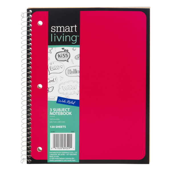 Smart Living Notebook 3 Subject Wide Ruled 10.5 X 8 Inch - 120 Sheets