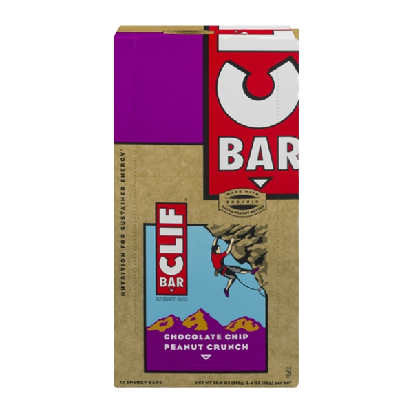 Clif Energy Bars Chocolate Chip Peanut Crunch Organic - 12 ct