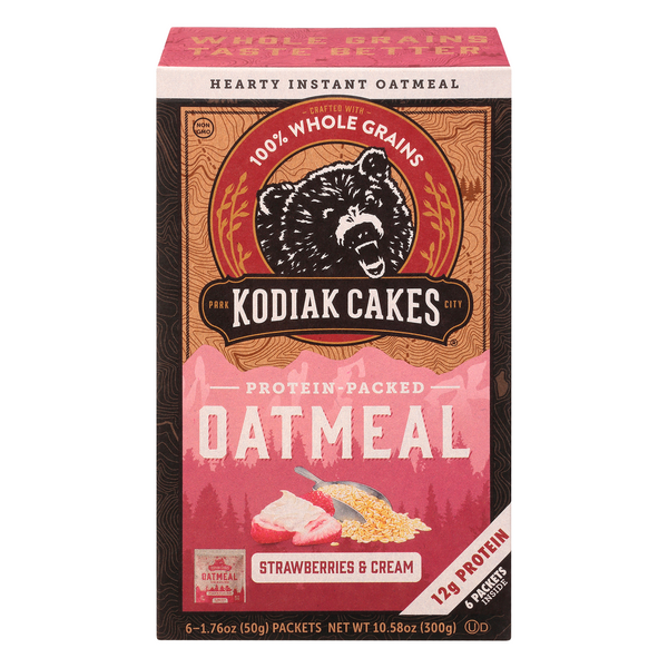 Kodiak Cakes Protein Packed Oatmeal Strawberries & Cream - 6 ct