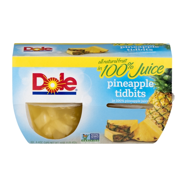 Dole Fruit Bowls Pineapple Tidbits in Pineapple Juice - 4 ct