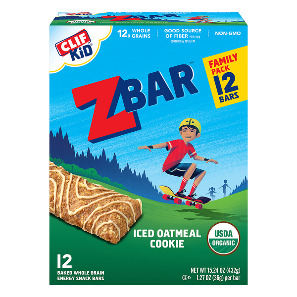 Clif Kid ZBar Energy Bars Iced Oatmeal Cookie Organic - 12 ct