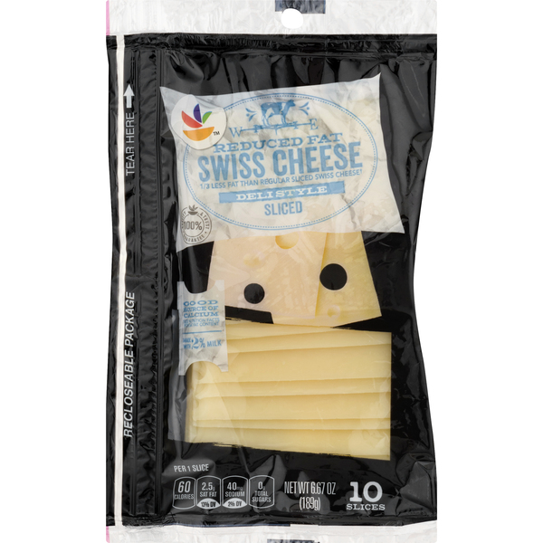 GIANT Swiss Cheese Reduced Fat Deli Style Sliced - 10 ct