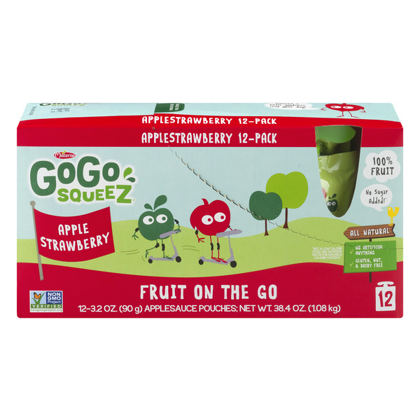 GoGo squeeZ Fruit on the Go Apple Sauce Pouches Apple Strawberry - 12 ct