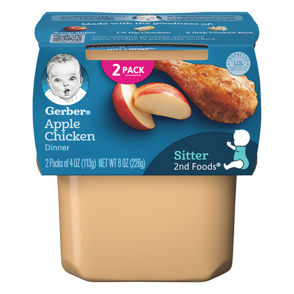 Gerber 2nd Baby Food Apple Chicken Dinner - 2 ct