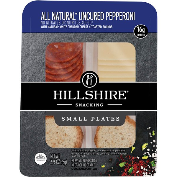 Hillshire Snacking Small Plates Uncured Pepperoni White Cheddar Cheese