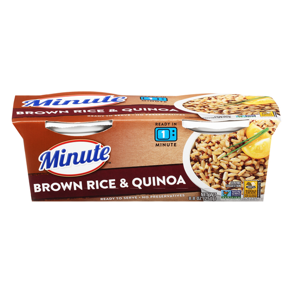 Minute Rice Ready To Serve Brown Rice & Quinoa Cups - 2 pk
