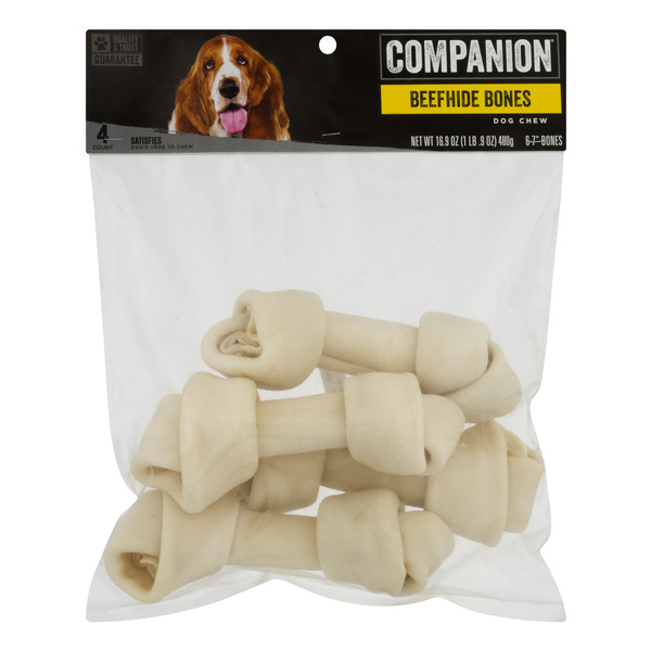 Companion Dog Chew Beefhide Bones - 4 ct