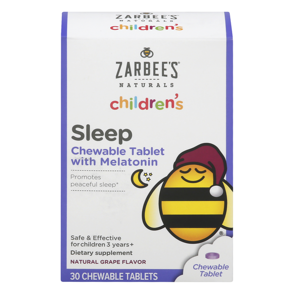 Zarbee's Naturals Children's Sleep With Melatonin Chewable Tablets Grape