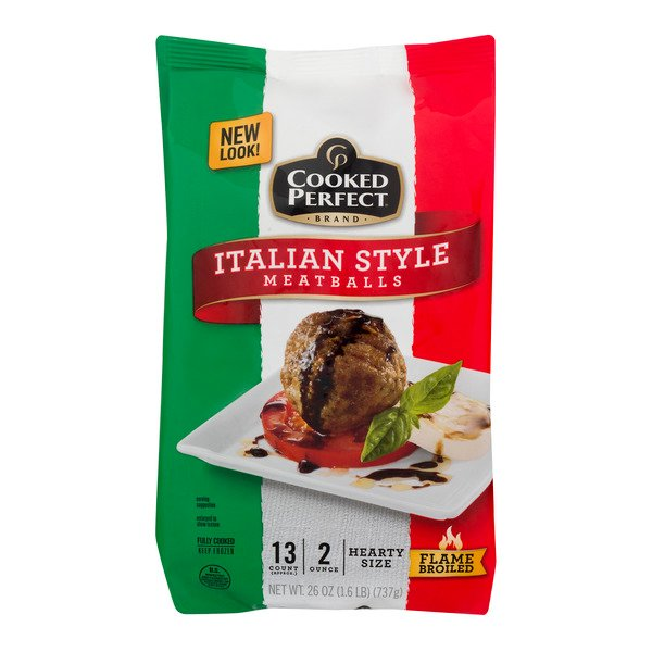 Cooked Perfect Meatballs Italian Style Hearty Size - apx 13 ct